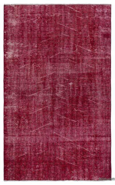 Boyalı El Dokuma Vintage Halı - 136 cm x 225 cm
