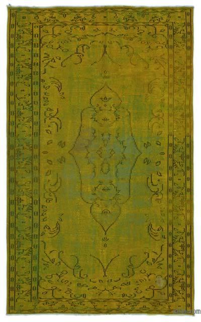 Boyalı El Dokuma Vintage Halı - 158 cm x 252 cm