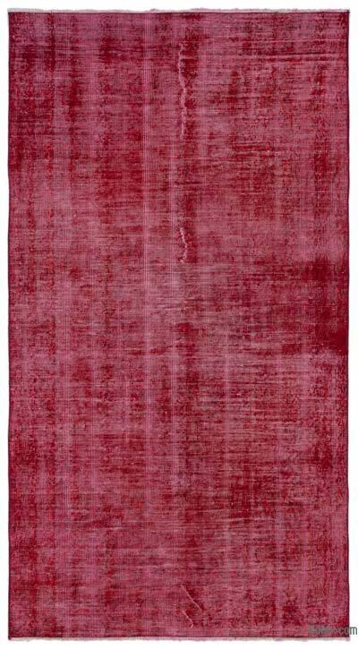 Boyalı El Dokuma Vintage Halı - 112 cm x 208 cm