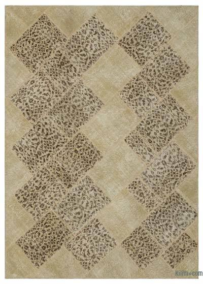 """Over-dyed Turkish Patchwork Rug - 5'3"""" x 7'8"""" (63 in. x 92 in.)"""