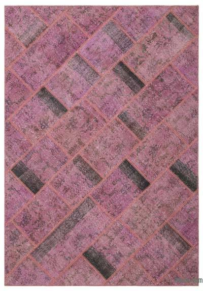 """Over-dyed Turkish Patchwork Rug - 5' 3"""" x 7' 8"""" (63 in. x 92 in.)"""