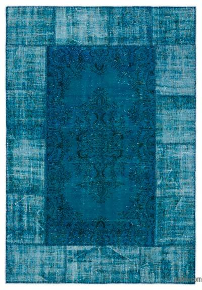 "Over-dyed Turkish Patchwork Rug - 5'11"" x 8'9"" (71 in. x 105 in.)"