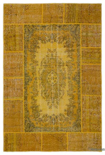 "Over-dyed Turkish Patchwork Rug - 6'1"" x 9'5"" (73 in. x 113 in.)"