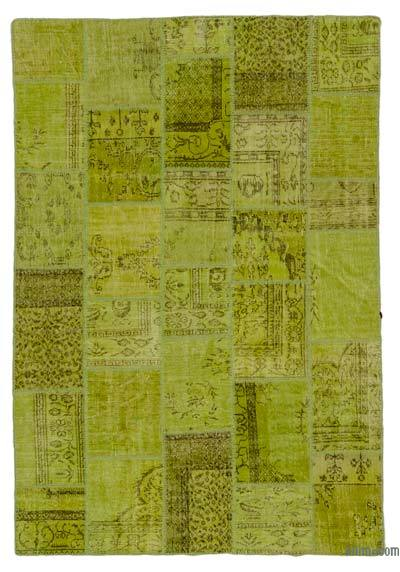 "Over-dyed Turkish Patchwork Rug - 6' 4"" x 9' 3"" (76 in. x 111 in.)"