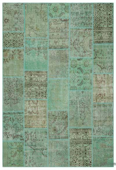 "Over-dyed Turkish Patchwork Rug - 6'3"" x 9'2"" (75 in. x 110 in.)"