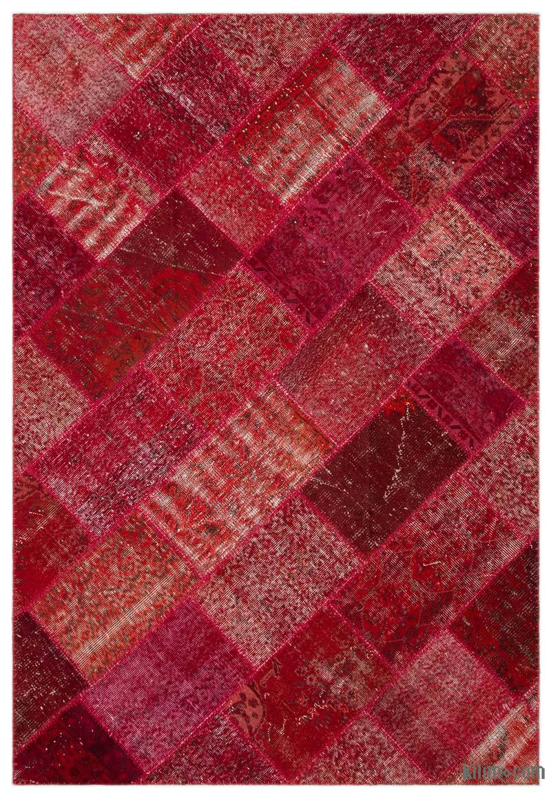 """Red Patchwork Hand-Knotted Turkish Rug - 5' 3"""" x 7' 7"""" (63 in. x 91 in.) - K0026936"""