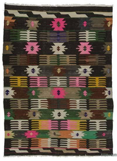 """Vintage Afyon Kilim Rug - 7'3"""" x 9'8"""" (87 in. x 116 in.)"""