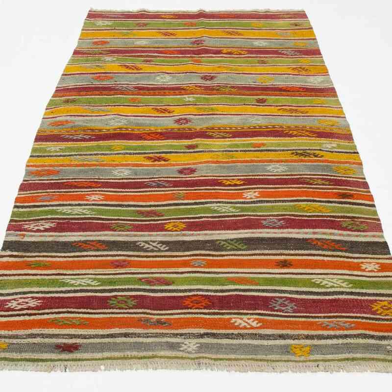 """Multicolor Vintage Fethiye Kilim Rug - 4' 2"""" x 7' 5"""" (50 in. x 89 in.) - K0027295"""