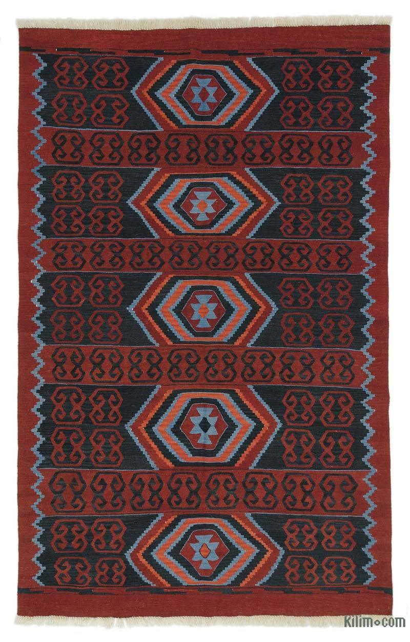 Blue, Red New Turkish Kilim Rug - K0027350