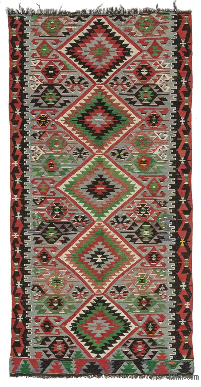 """Multicolor Vintage Esme Kilim Rug - 5' 3"""" x 10' 4"""" (63 in. x 124 in.) - K0027720"""