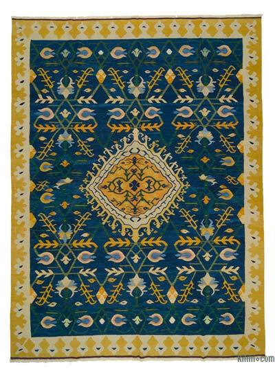 "Blue New Handwoven Turkish Kilim Rug - 9' 5"" x 12' 6"" (113 in. x 150 in.)"