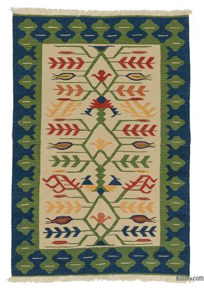 "New Handwoven Turkish Kilim Rug - 4' 1"" x 6' 1"" (49 in. x 73 in.)"