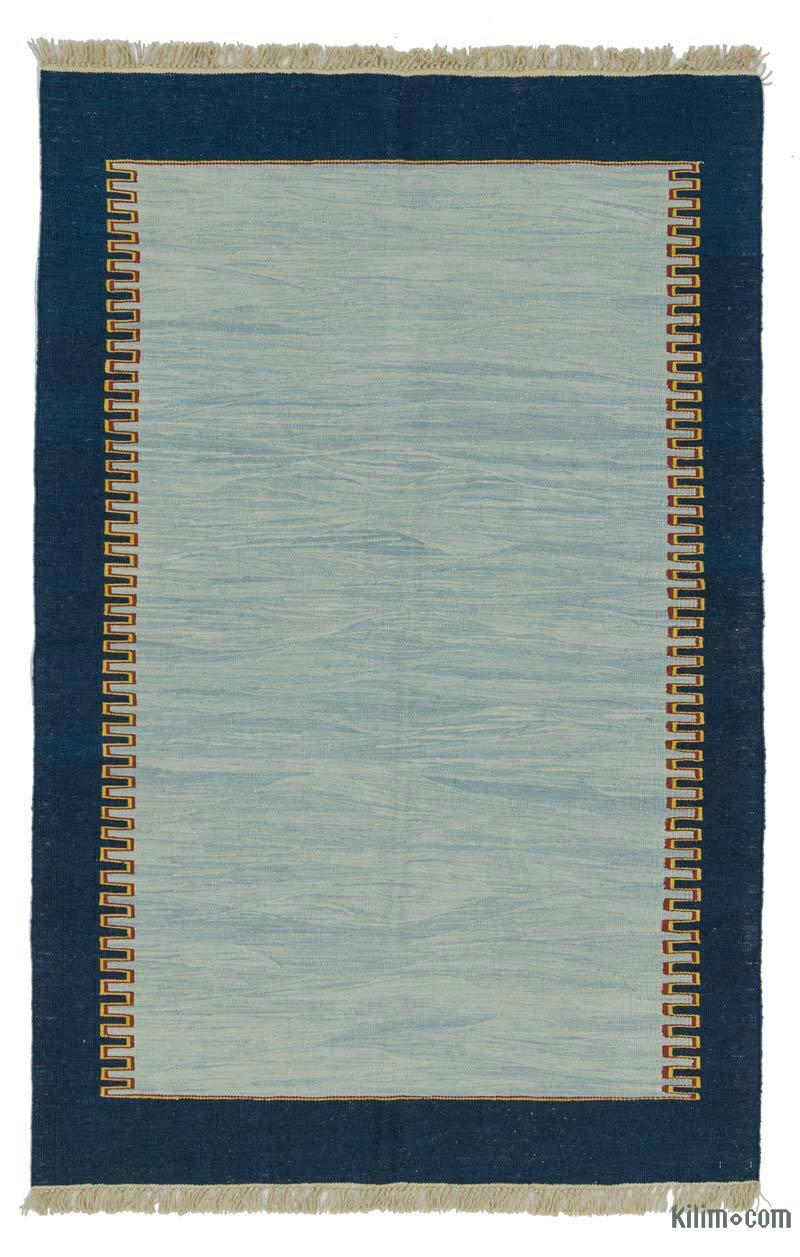 Açık Mavi, Lacivert Yeni Kök Boya El Dokuma Kilim - 120 cm x 188 cm - K0027803