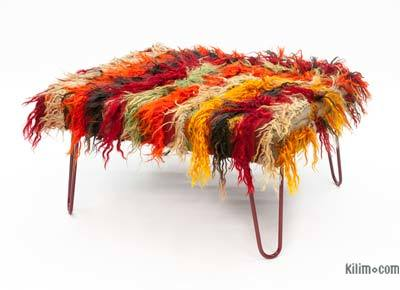 Mohair Rug Ottoman with Hairpin Legs