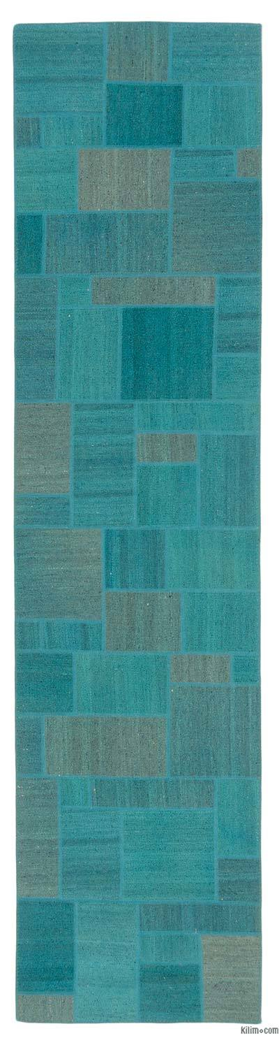 """Patchwork Hand-Knotted Turkish Runner - 2' 7"""" x 10' 4"""" (31 in. x 124 in.)"""