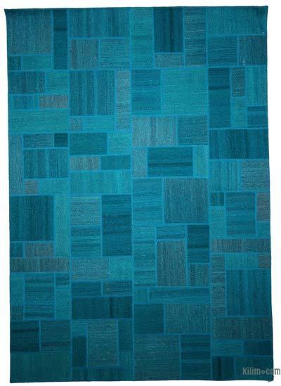 Alfombra Kilim De Retazos Sobre Teñida - 167 cm x 237 cm