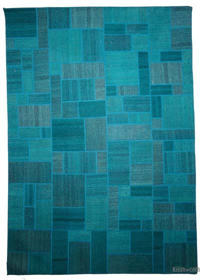 "Over-dyed Kilim Patchwork Rug - 5'6"" x 7'9"" (66 in. x 93 in.)"