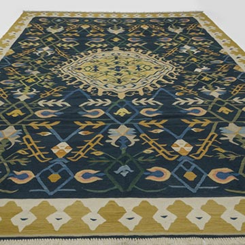 Lacivert Yeni Kök Boya El Dokuma Kilim - 264 cm x 372 cm - K0028218
