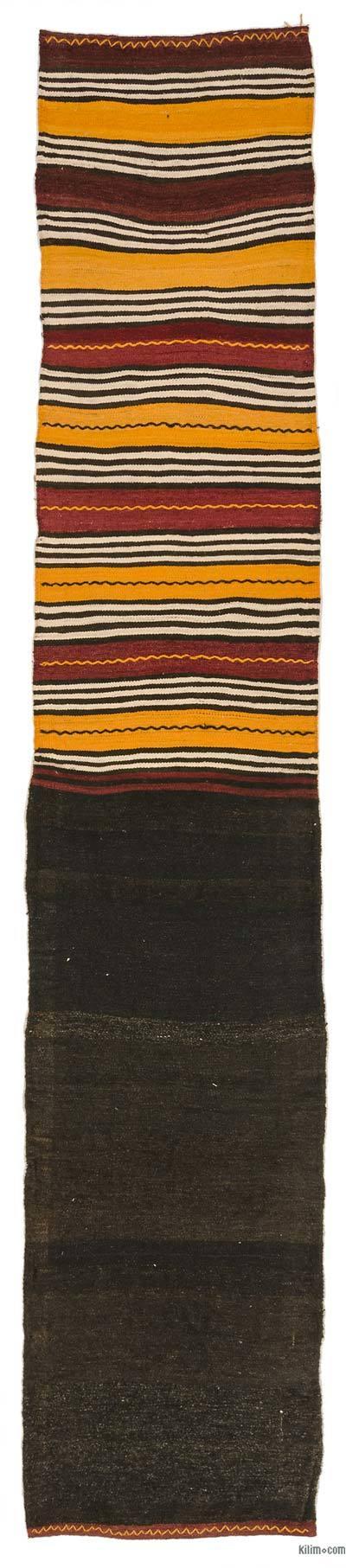 Marrón Kilim Vintage Turco De Pasillo - 65 cm x 326 cm
