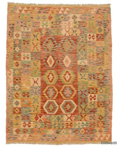 "New Afghan Kilim Rug - 4'11"" x 6'5"" (59 in. x 77 in.)"