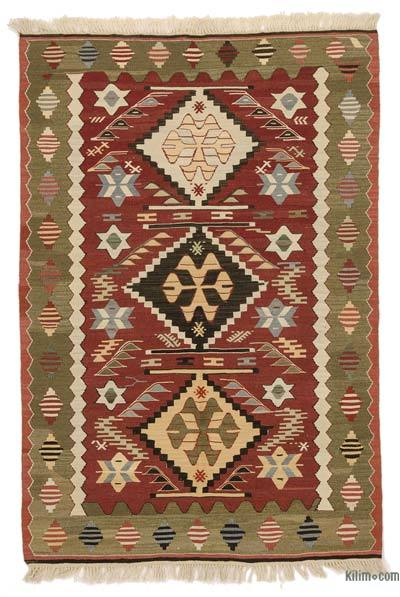 """New Handwoven Turkish Kilim Rug - 3' 5"""" x 4' 11"""" (41 in. x 59 in.)"""