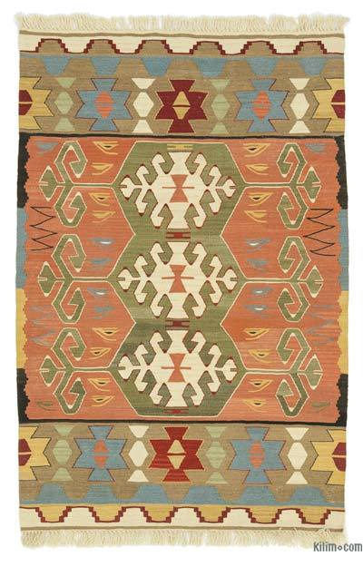 "New Handwoven Turkish Kilim Rug - 3' 2"" x 4' 9"" (38 in. x 57 in.)"