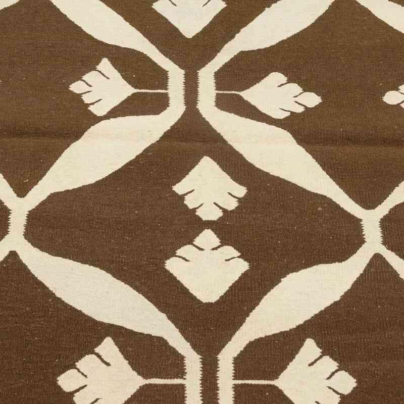 Kahverengi, Bej Yeni Kök Boya El Dokuma Kilim - 93 cm x 150 cm - K0028408