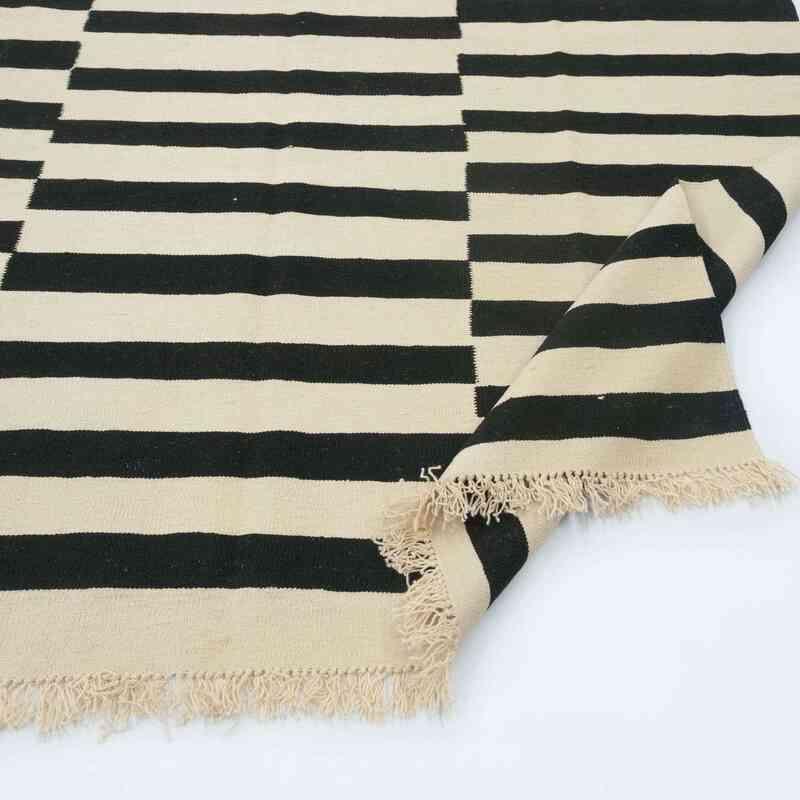 Beige, Black New Turkish Kilim Rug - K0028418