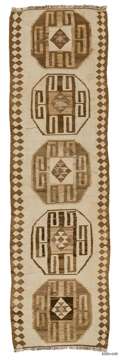 "Vintage Turkish Kilim Runner - 2' 11"" x 10'  (35 in. x 120 in.)"