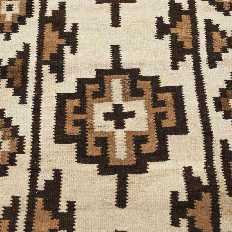 Beige, Marrón Kilim Vintage Turco de Pasillo - 92 cm x 350 cm - K0028628
