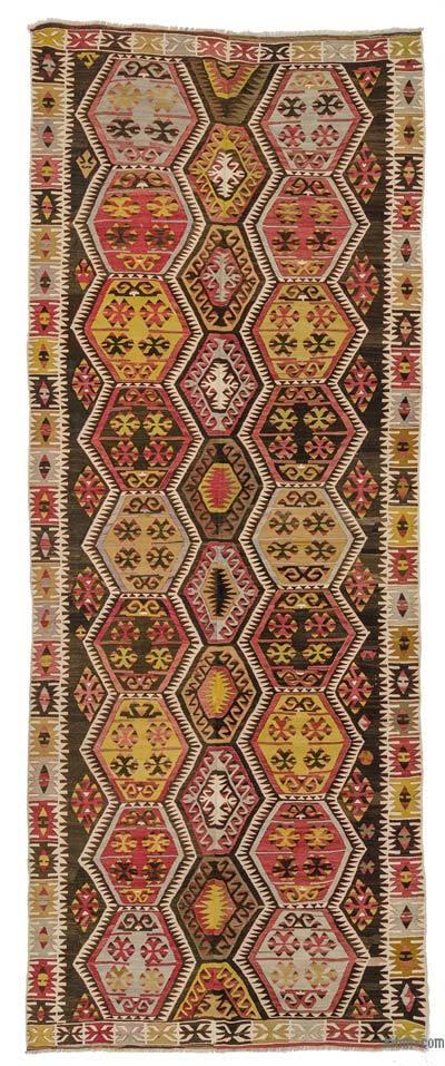 Multicolor Alfombra Kirsehir Kilim Vintage - 157 cm x 402 cm