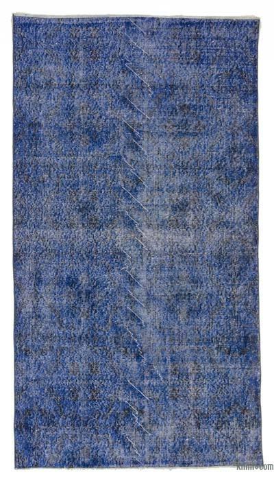 Boyalı El Dokuma Vintage Halı - 114 cm x 209 cm