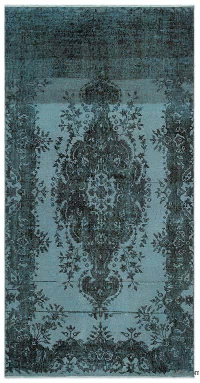 Boyalı El Dokuma Vintage Halı - 111 cm x 218 cm
