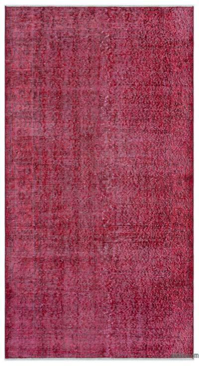 Boyalı El Dokuma Vintage Halı - 109 cm x 204 cm