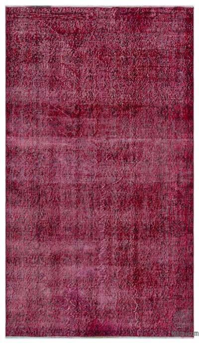 Boyalı El Dokuma Vintage Halı - 116 cm x 202 cm