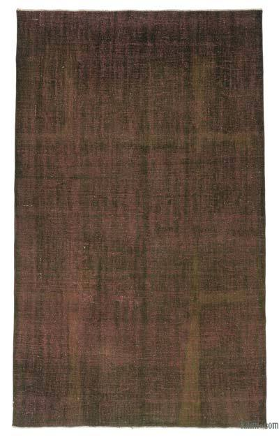 "Brown, Black Over-dyed Turkish Vintage Rug - 5' 3"" x 9'  (63 in. x 108 in.)"