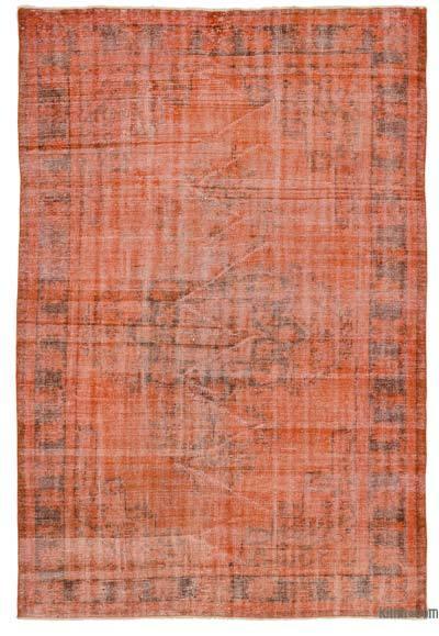 Turuncu Boyalı El Dokuma Vintage Halı - 174 cm x 254 cm