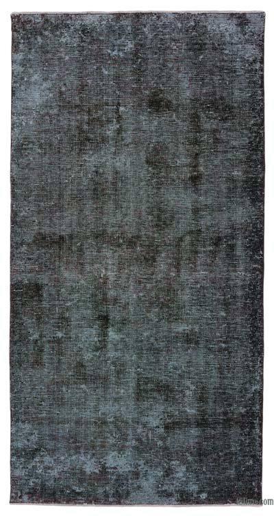 Boyalı El Dokuma Vintage Halı - 107 cm x 210 cm