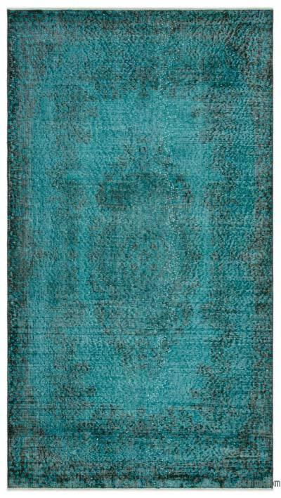 Boyalı El Dokuma Vintage Halı - 117 cm x 215 cm