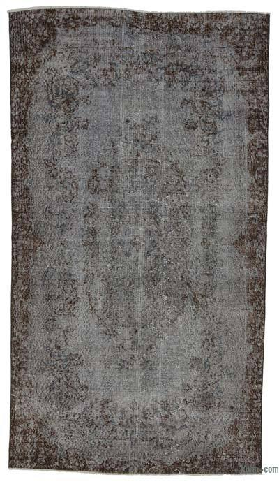 Boyalı El Dokuma Vintage Halı - 118 cm x 211 cm