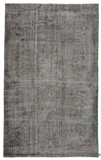 "Grey Over-dyed Turkish Vintage Rug - 5' 6"" x 9'  (66 in. x 108 in.)"
