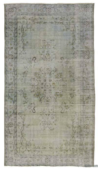 Boyalı El Dokuma Vintage Halı - 146 cm x 265 cm