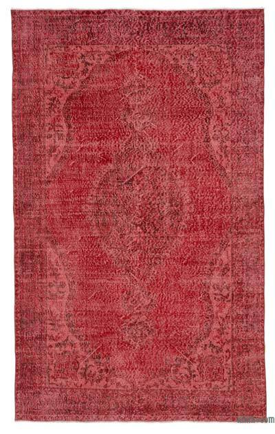 "Red Over-dyed Turkish Vintage Rug - 5' 7"" x 9' 2"" (67 in. x 110 in.)"