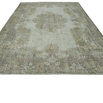 Green Over-dyed Turkish Vintage Rug - 6' 1# x 10'  (73 in. x 120 in.) - K0030749