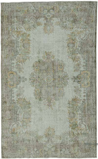"Green Over-dyed Turkish Vintage Rug - 6' 1"" x 10'  (73 in. x 120 in.)"