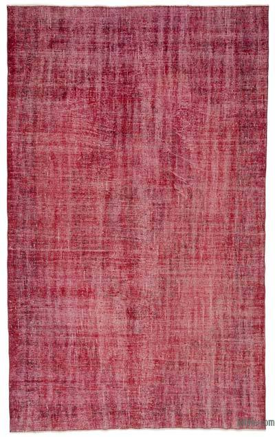 """Red Over-dyed Turkish Vintage Rug - 5' 8"""" x 9' 2"""" (68 in. x 110 in.)"""