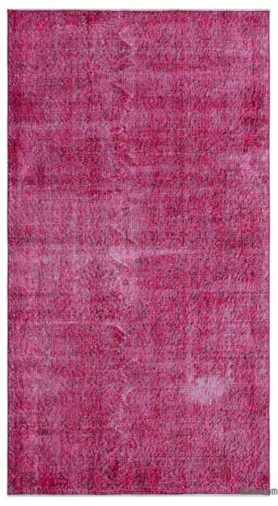 Boyalı El Dokuma Vintage Halı - 112 cm x 205 cm