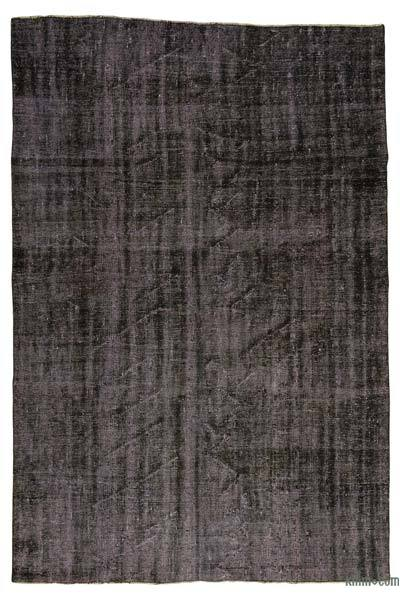 """Black Over-dyed Turkish Vintage Rug - 6' 2"""" x 8' 11"""" (74 in. x 107 in.)"""
