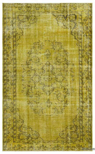 Boyalı El Dokuma Vintage Halı - 165 cm x 264 cm