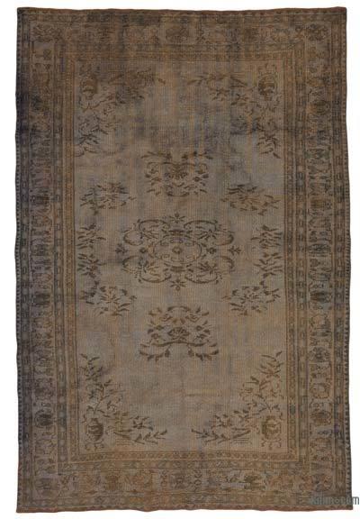 Gri Boyalı El Dokuma Vintage Halı - 176 cm x 277 cm